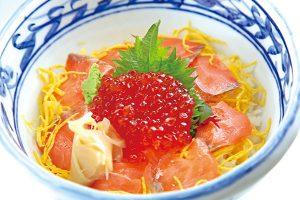 鮭イクラ丼(味噌汁、漬け物付き)
